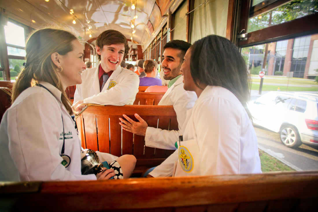 Tulane medical students on street car